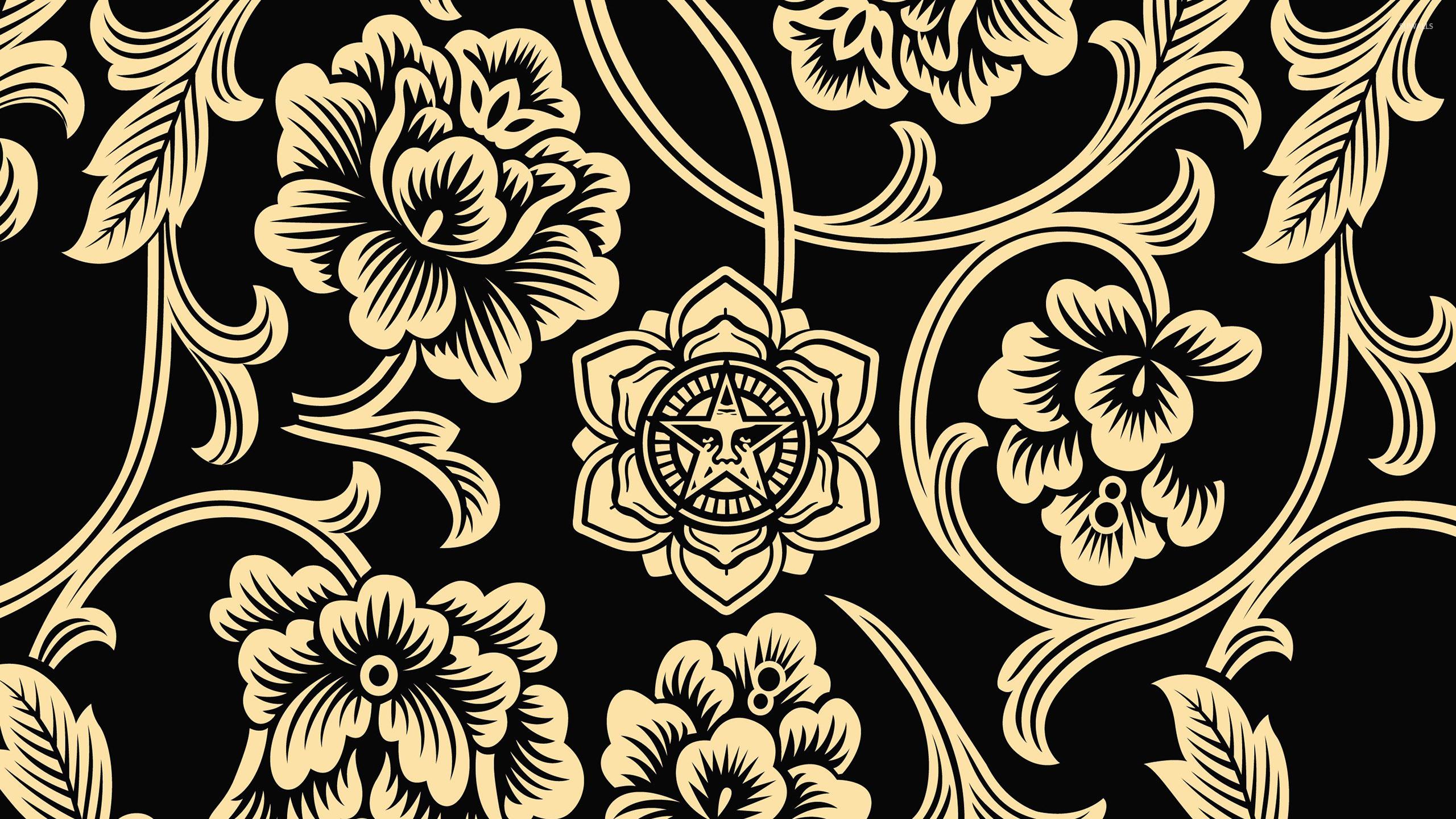 Tribal golden flowers on dark background wallpaper - Vector