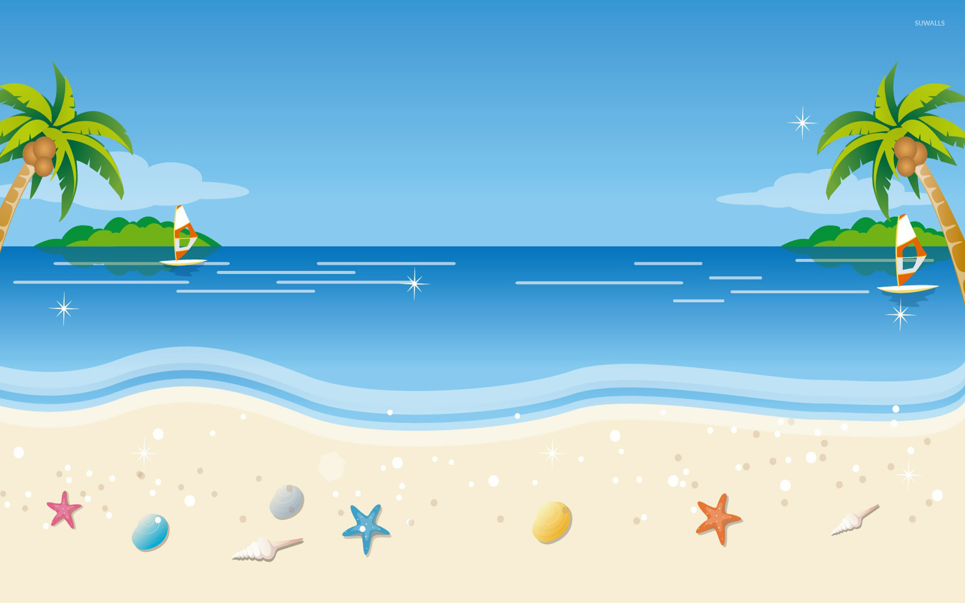 tropical beach wallpaper - vector wallpapers - #21922