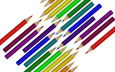 Twin sets of colored pencils wallpaper
