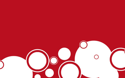 White circles on red wallpaper