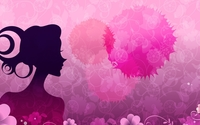 Woman silhouette by the pink flowers wallpaper 1920x1080 jpg