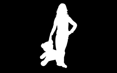 Woman with a teddy bear silhouette wallpaper