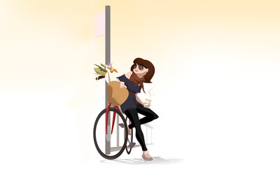 Woman with her bicycle wallpaper