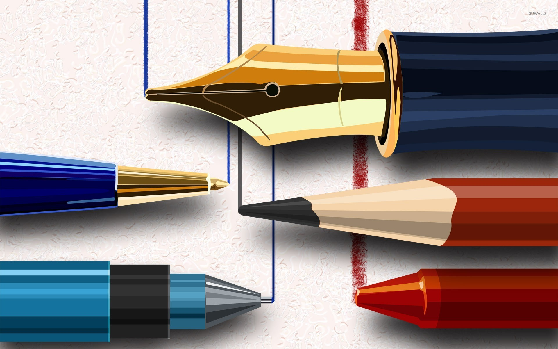 Writing Pen Wallpaper Writing instruments wa...