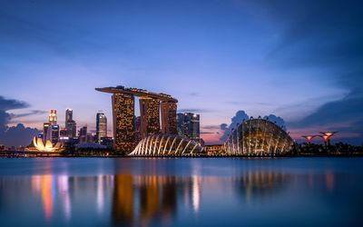 Amazing lights in Marina Bay Sands wallpaper