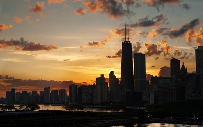 Amazing sunset clouds above Chicago wallpaper