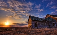 Amazing sunset sky above the forgotten house on the field wallpaper 1920x1200 jpg