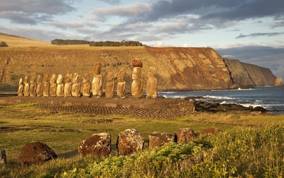 Ancient stone statues on Easter Island wallpaper