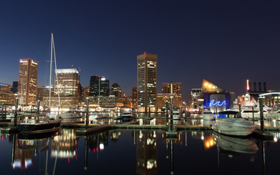 Baltimore harbor at night wallpaper