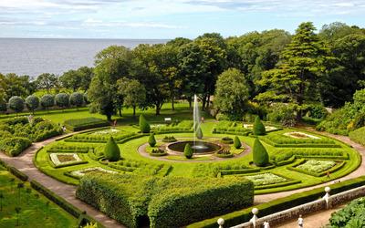 Beautiful garden on the seaside Wallpaper