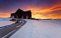 Beautiful sunset above the old barn wallpaper 1920x1200 jpg