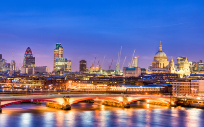 Blue sky over the city light in London Wallpaper