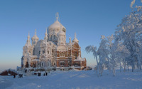Brick church covered in snow wallpaper 2880x1800 jpg