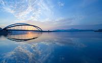 Bridge over the river at dusk wallpaper 2560x1600 jpg