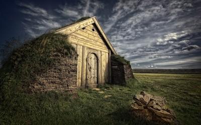 Camouflaged hut wallpaper