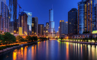 Chicago at night wallpaper 1920x1200 jpg