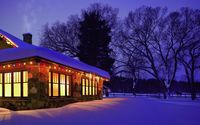 Christmas lights decorating the snowy house wallpaper 1920x1080 jpg