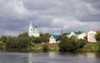 Church by the river wallpaper 2880x1800 jpg