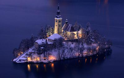Church of the Assumption at winter, Lake Bled, Slovenia Wallpaper