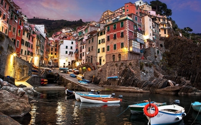 Cinque Terre at sunset wallpaper