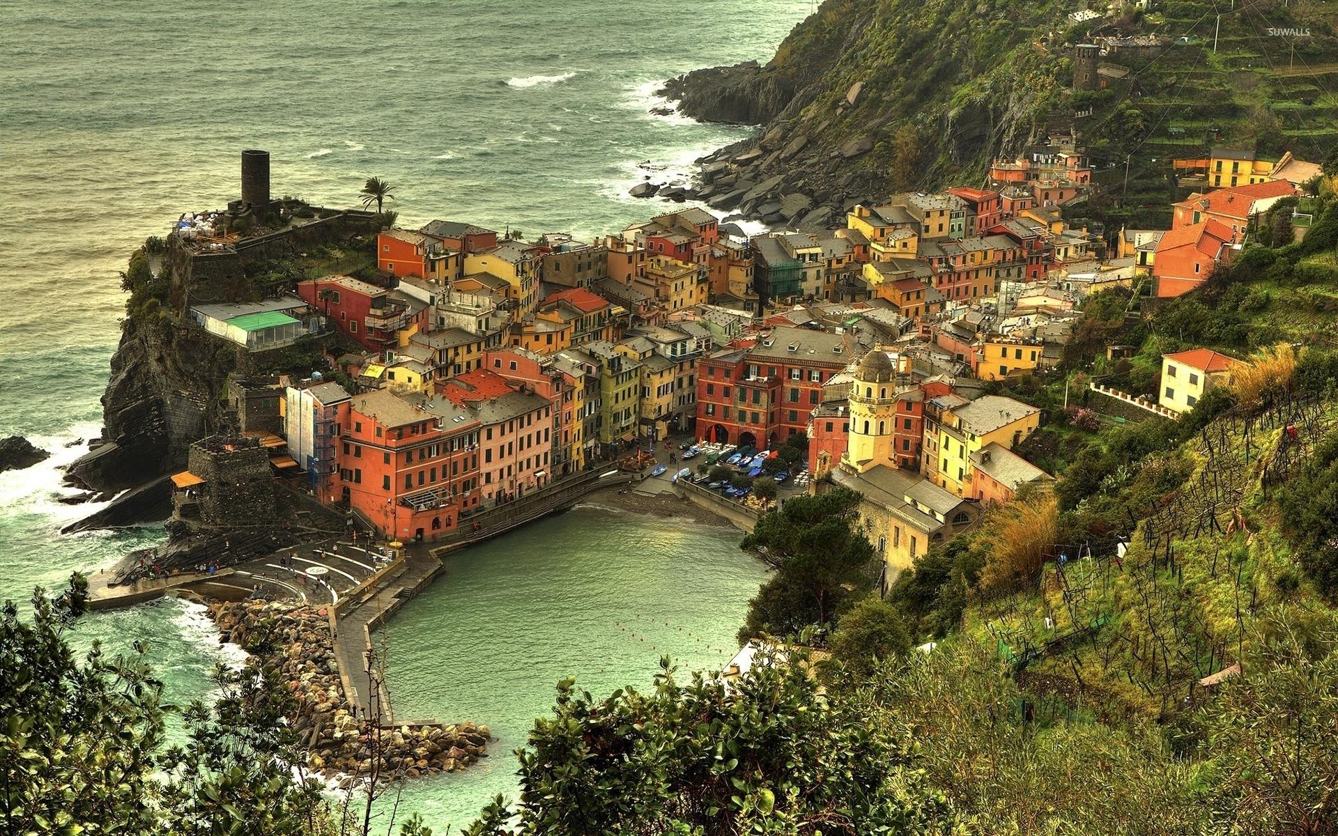 Cinque Terre on Italian Riviera coastline wallpaper