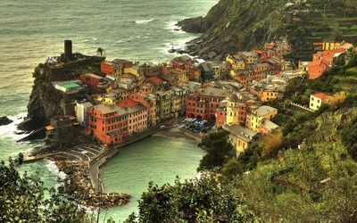 Cinque Terre on Italian Riviera coastline wallpaper