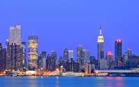 Clear blue sky over New York City at sunset wallpaper 1920x1200 jpg