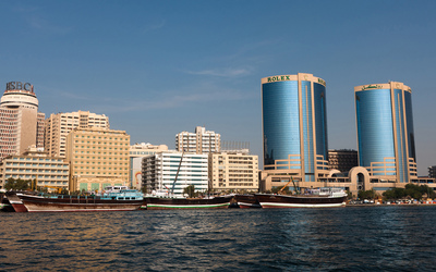 Clear sky above the Deira Skyline wallpaper