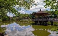 Dirty lake in a japanese garden wallpaper 1920x1200 jpg