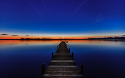Dock under the dusk sky wallpaper