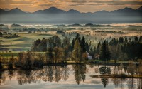 Foggy morning in a german village wallpaper 1920x1200 jpg