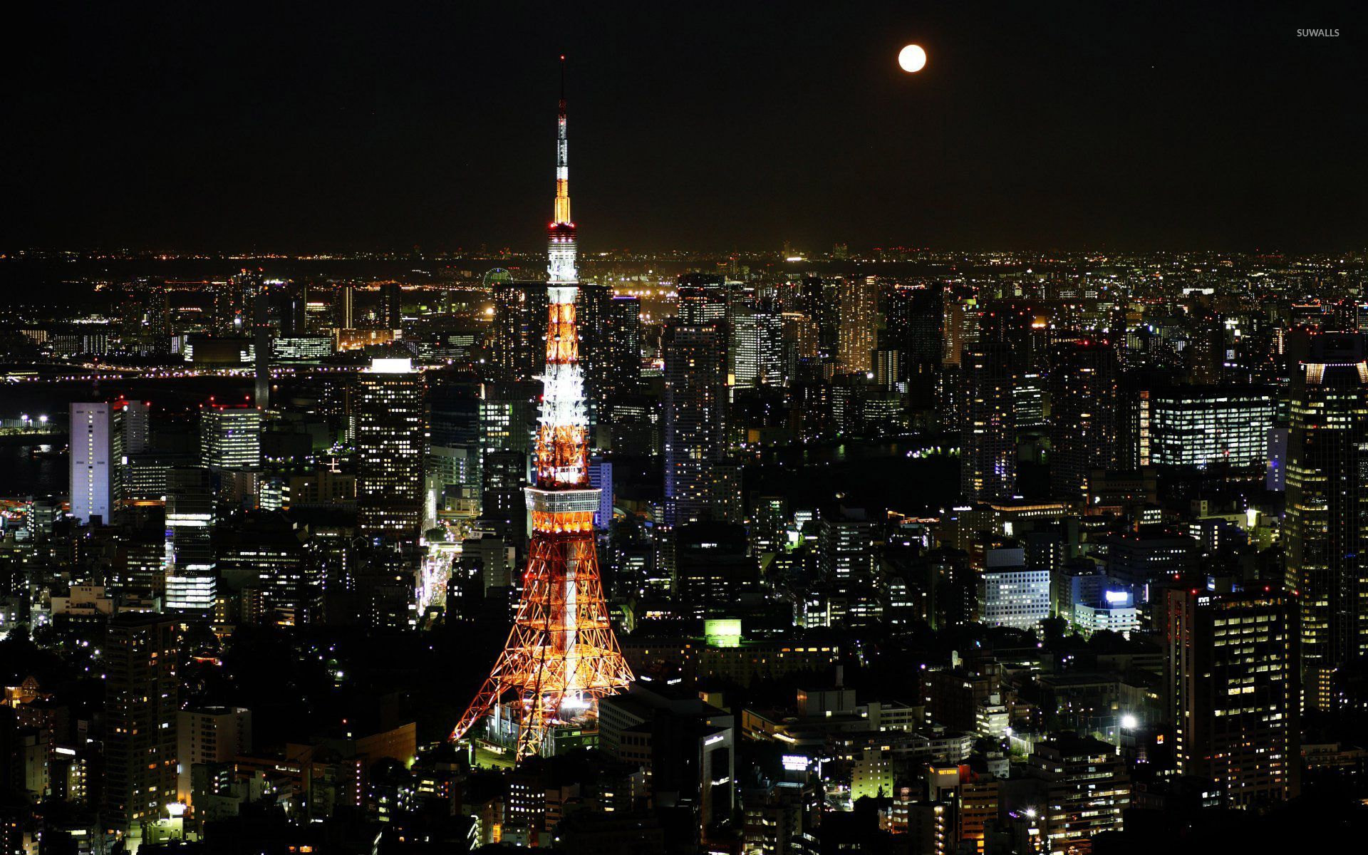 Moon Over Tokyo Japan HD desktop wallpaper High Definition