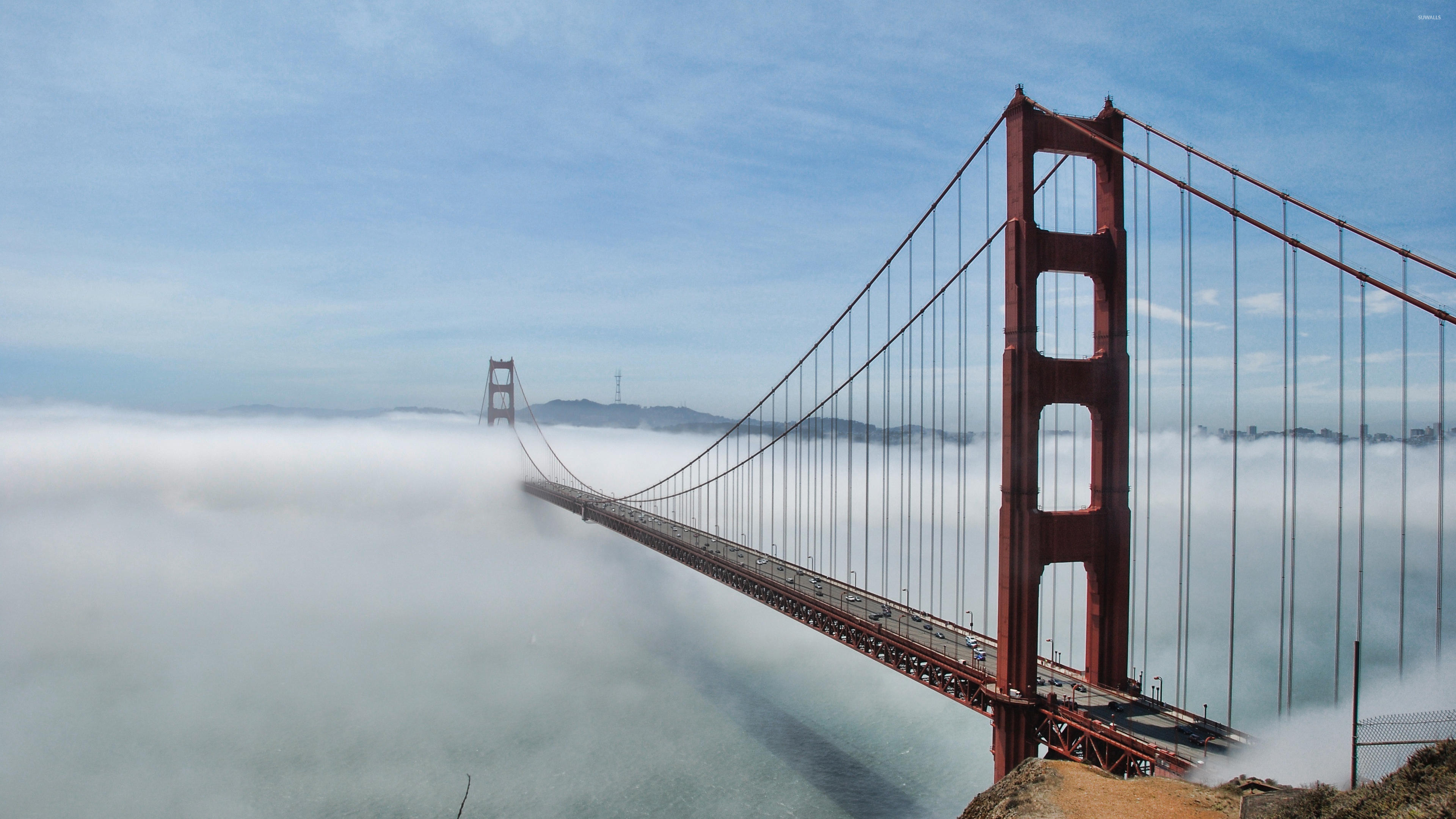 Golden Gate Bridge lost in the fog