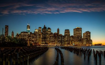 Golden lit skyscrapers in New York City wallpaper