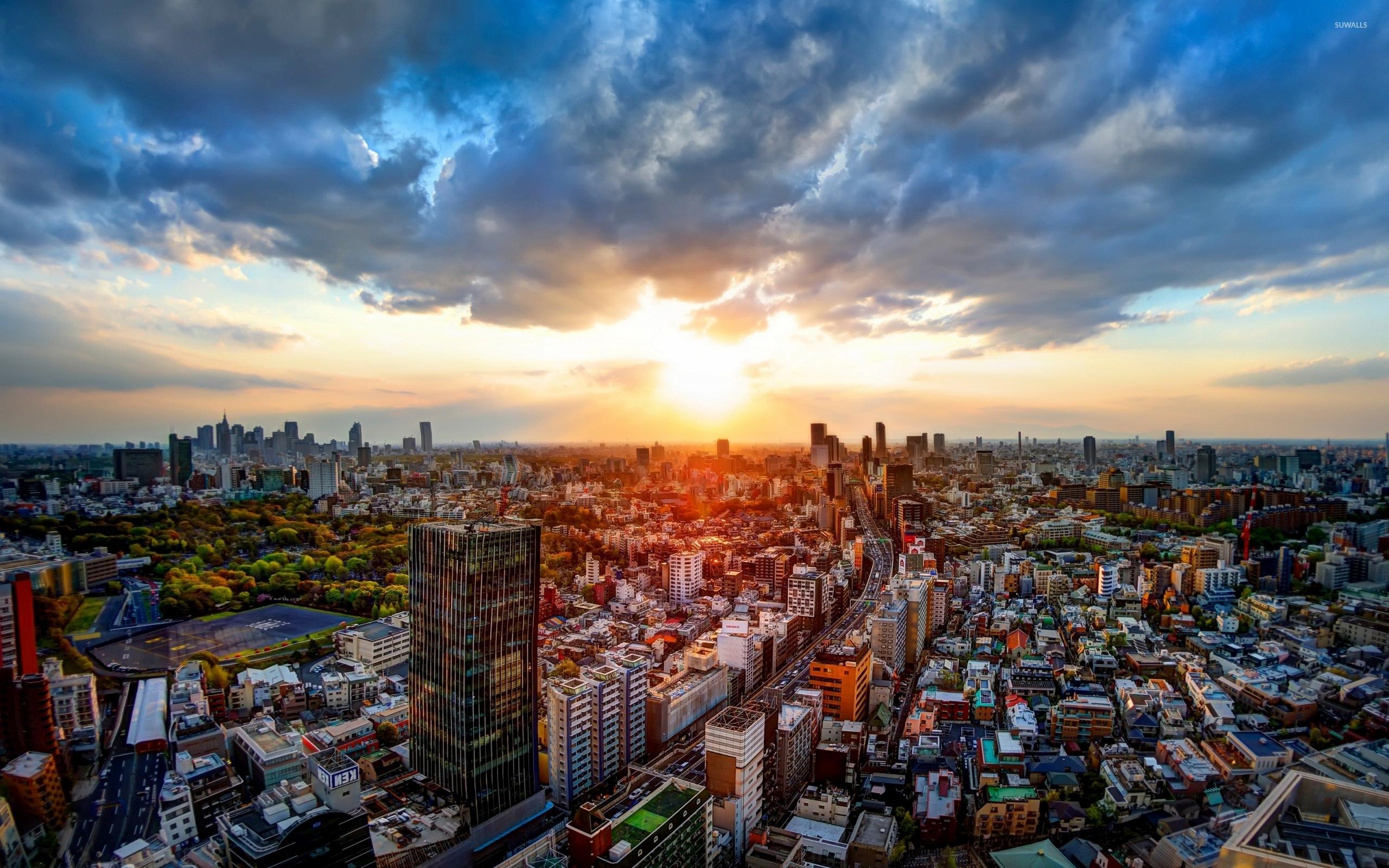 Golden sunset above Tokyo wallpaper World wallpapers 51078