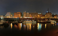 Hamburg harbour at night wallpaper 2560x1440 jpg