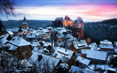Hohnstein in winter, Germany wallpaper