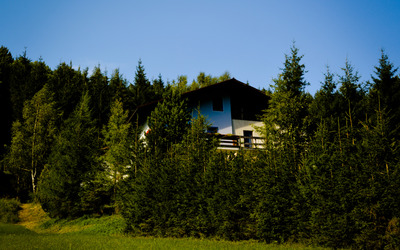 House behind the trees in Annaberg wallpaper