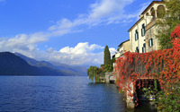 House on the lake side with a boat garage wallpaper 2880x1800 jpg