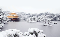 Japanese house on a frozen lake wallpaper 1920x1200 jpg