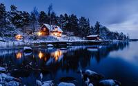 Lakeside winter cabin wallpaper 1920x1080 jpg