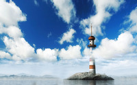 Lighthouse on a tiny island wallpaper 2560x1600 jpg