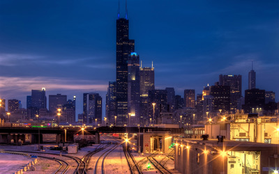 Lights on the railway in Chicago wallpaper
