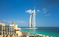 Luxorious Burj Al Arab on an artifical island wallpaper 1920x1080 jpg