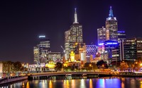 Melbourne night light reflecting in the water wallpaper 1920x1200 jpg
