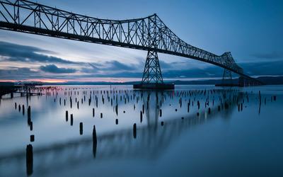 Metallic bridge over the water wallpaper
