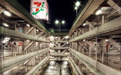 Multi-storey car park in Tokyo wallpaper