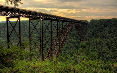 New River Gorge Bridge across the forest wallpaper