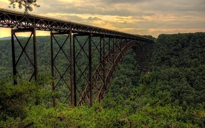 New River Gorge Bridge across the forest Wallpaper
