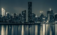 New York City night lights reflected in the water wallpaper 1920x1200 jpg